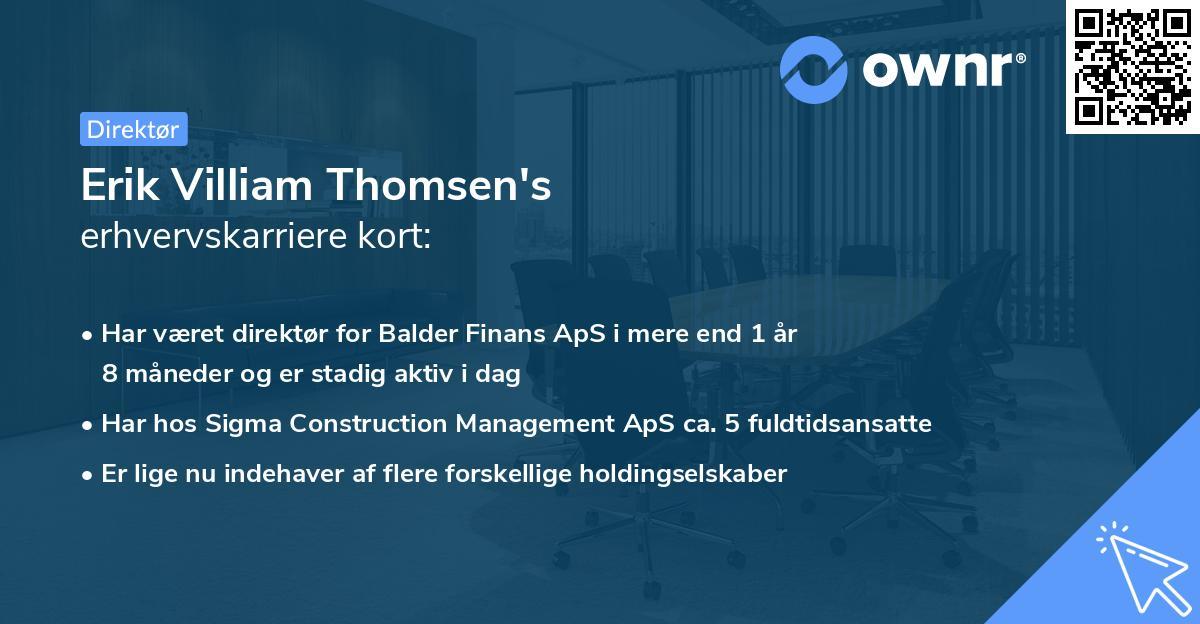 Erik Villiam Thomsen's erhvervskarriere kort