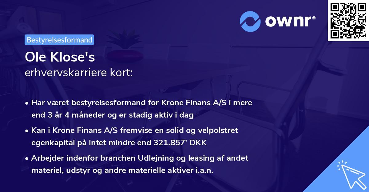 Ole Klose's erhvervskarriere kort