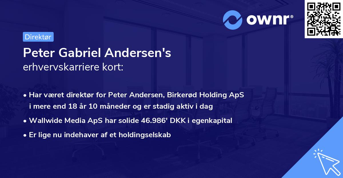 Peter Gabriel Andersen's erhvervskarriere kort
