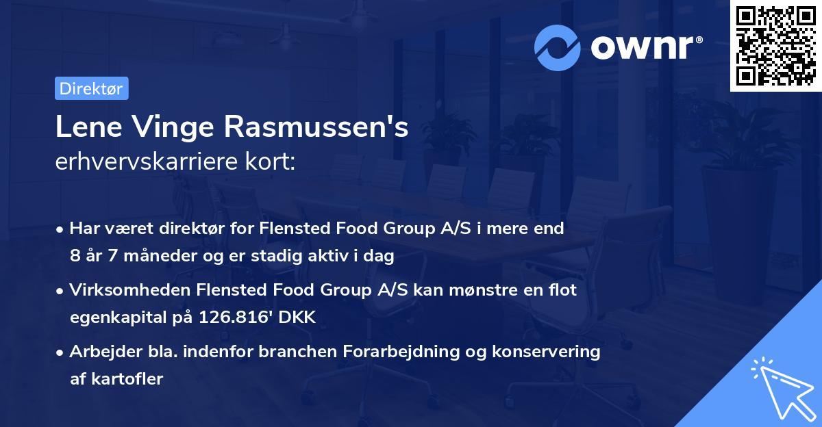 Lene Vinge Rasmussen's erhvervskarriere kort