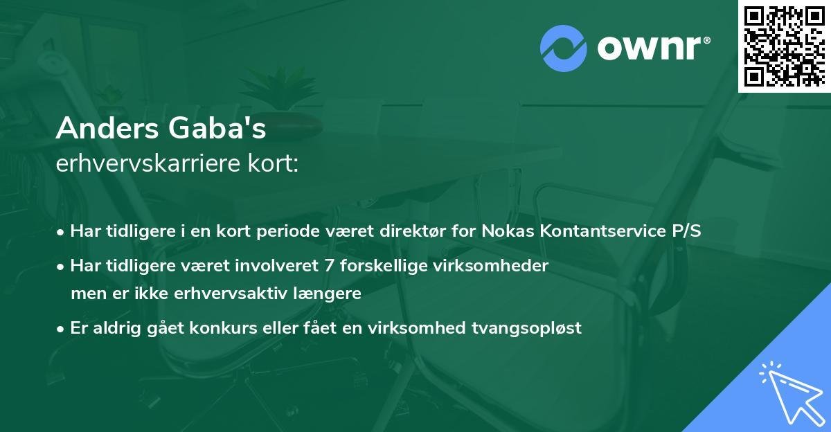 Anders Gaba's erhvervskarriere kort