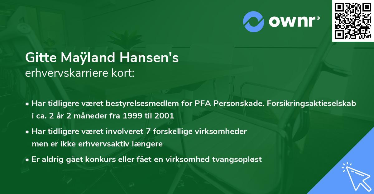 Gitte Maÿland Hansen's erhvervskarriere kort