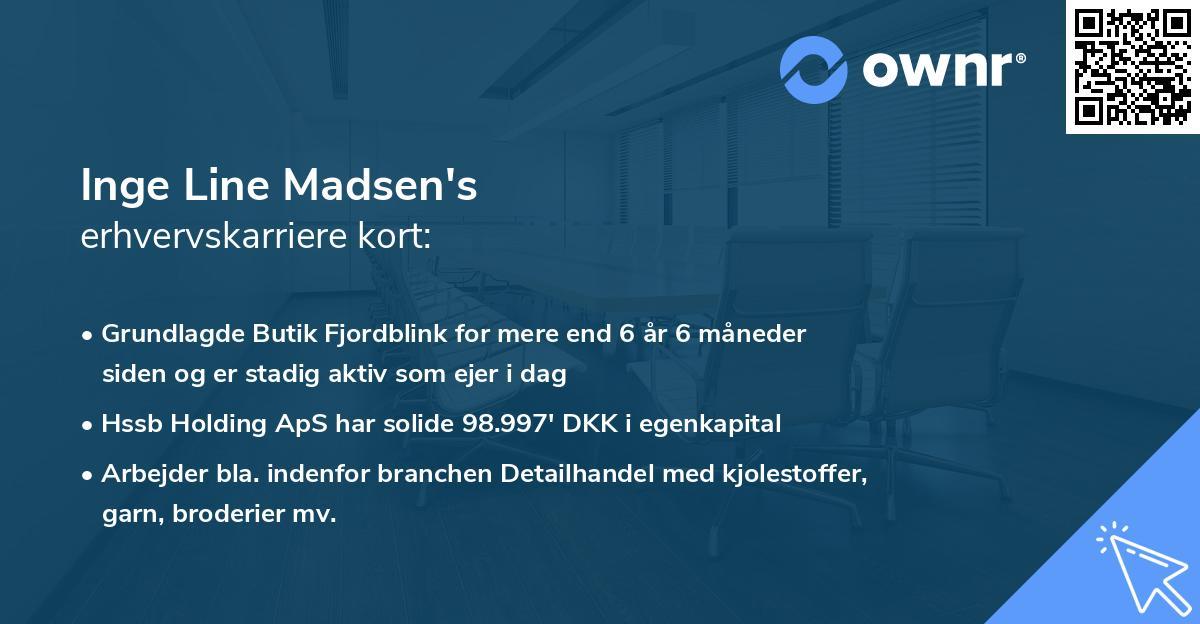 Inge Line Madsen's erhvervskarriere kort