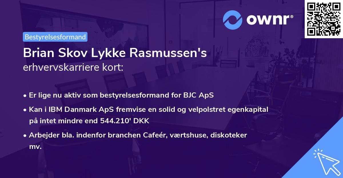 Brian Skov Lykke Rasmussen's erhvervskarriere kort