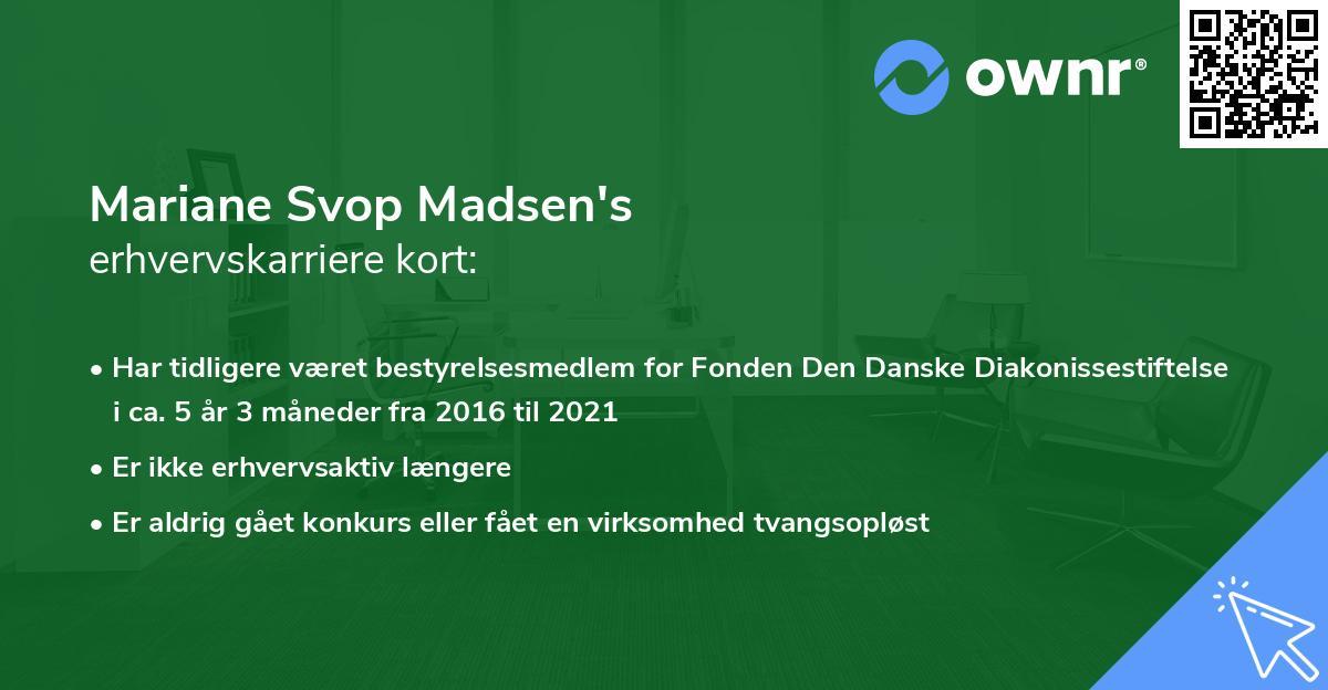 Mariane Svop Madsen's erhvervskarriere kort