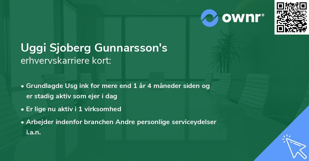 Uggi Sjoberg Gunnarsson's erhvervskarriere kort