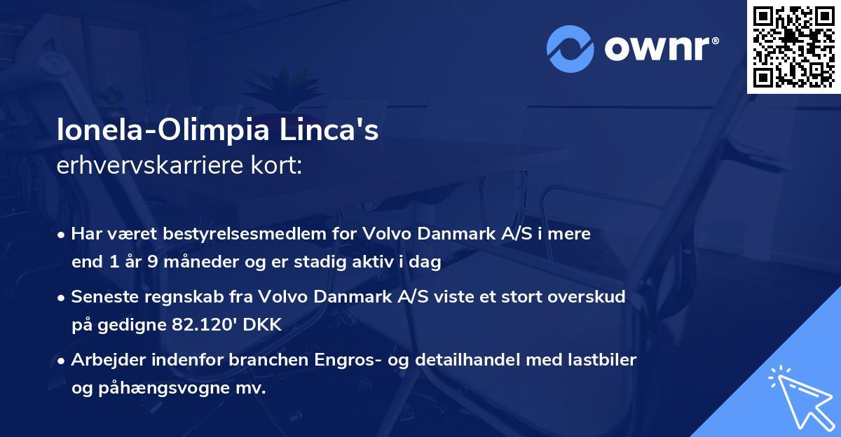 Ionela-Olimpia Linca's erhvervskarriere kort