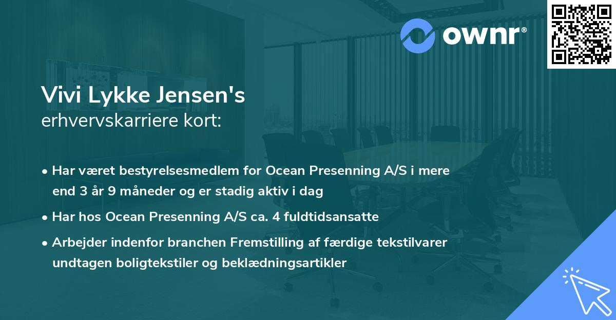 Vivi Lykke Jensen's erhvervskarriere kort