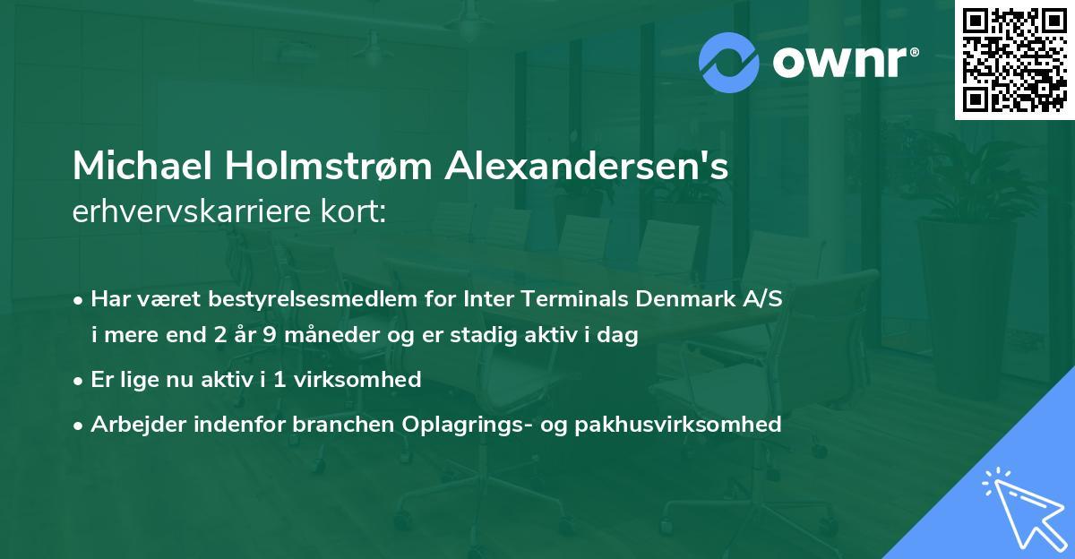 Michael Holmstrøm Alexandersen's erhvervskarriere kort