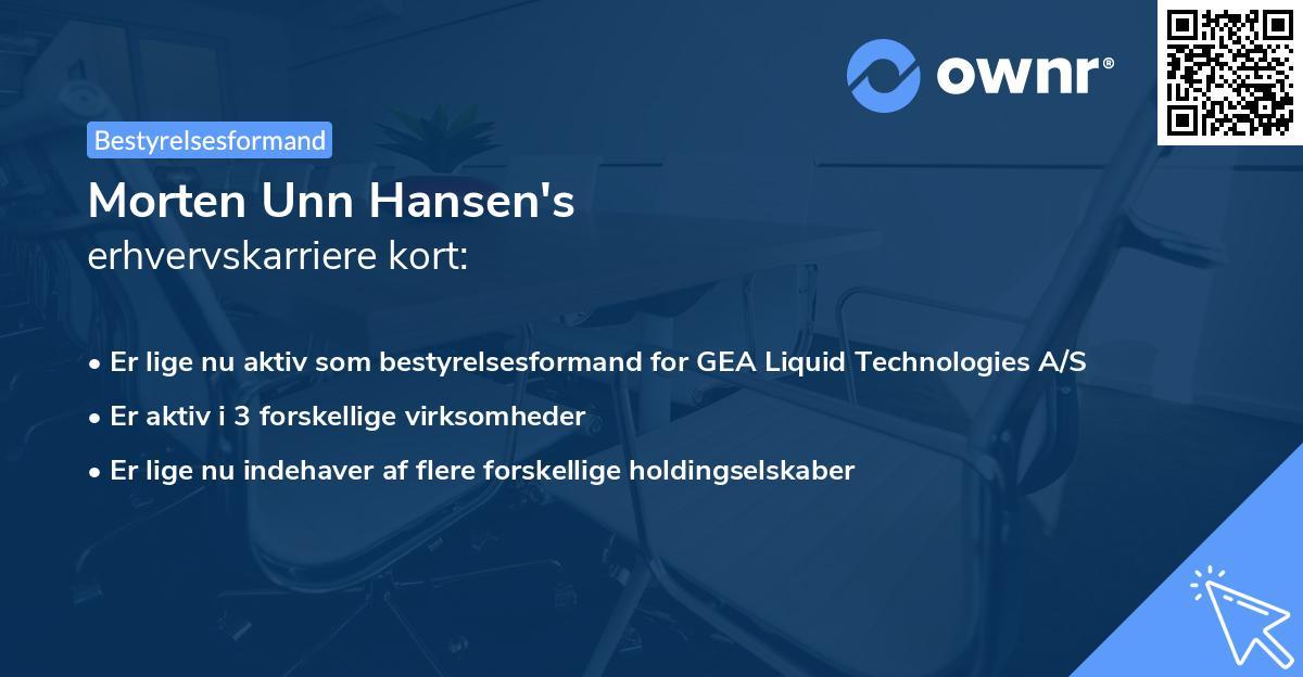 Morten Unn Hansen's erhvervskarriere kort