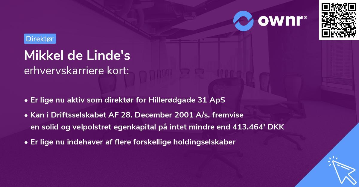 Mikkel de Linde's erhvervskarriere kort