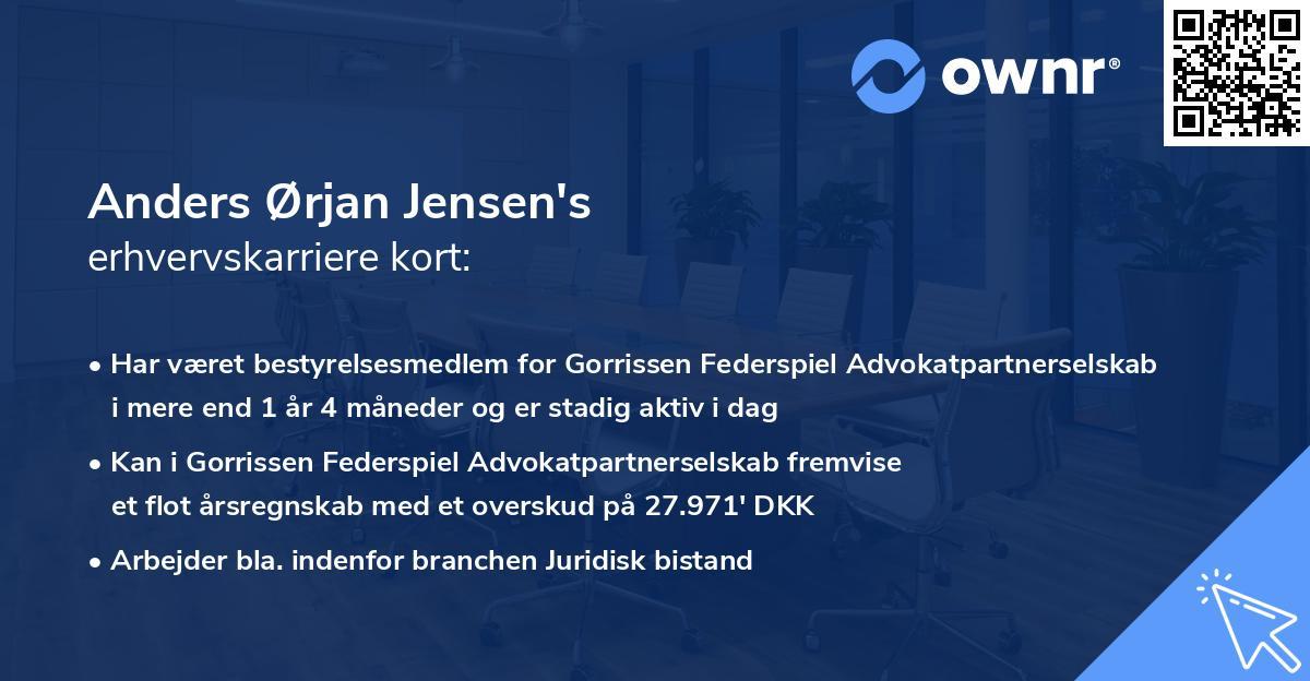 Anders Ørjan Jensen's erhvervskarriere kort