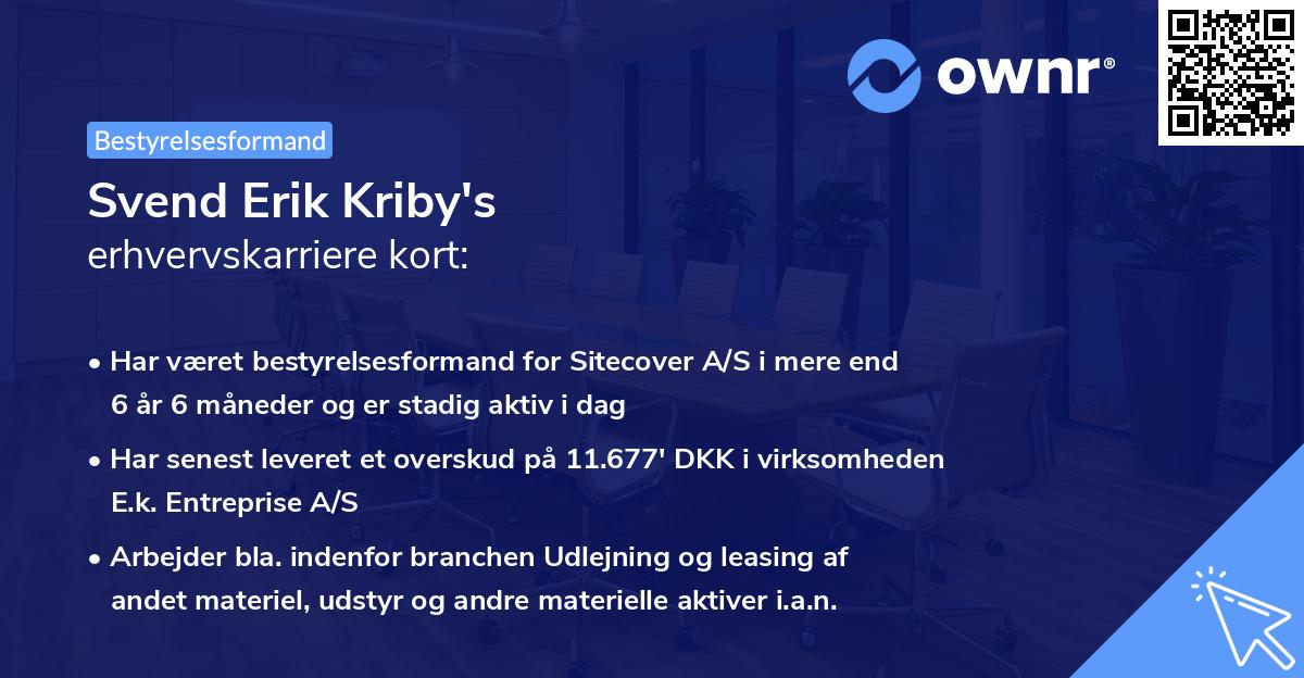 Svend Erik Kriby's erhvervskarriere kort