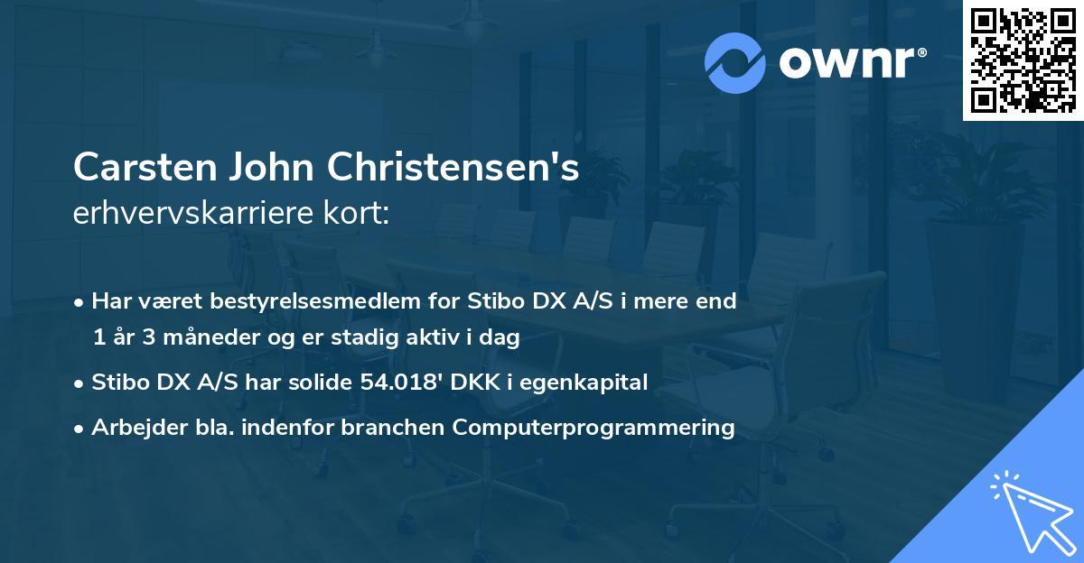 Carsten John Christensen's erhvervskarriere kort