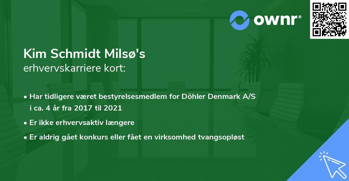 Kim Schmidt Milsø's erhvervskarriere kort