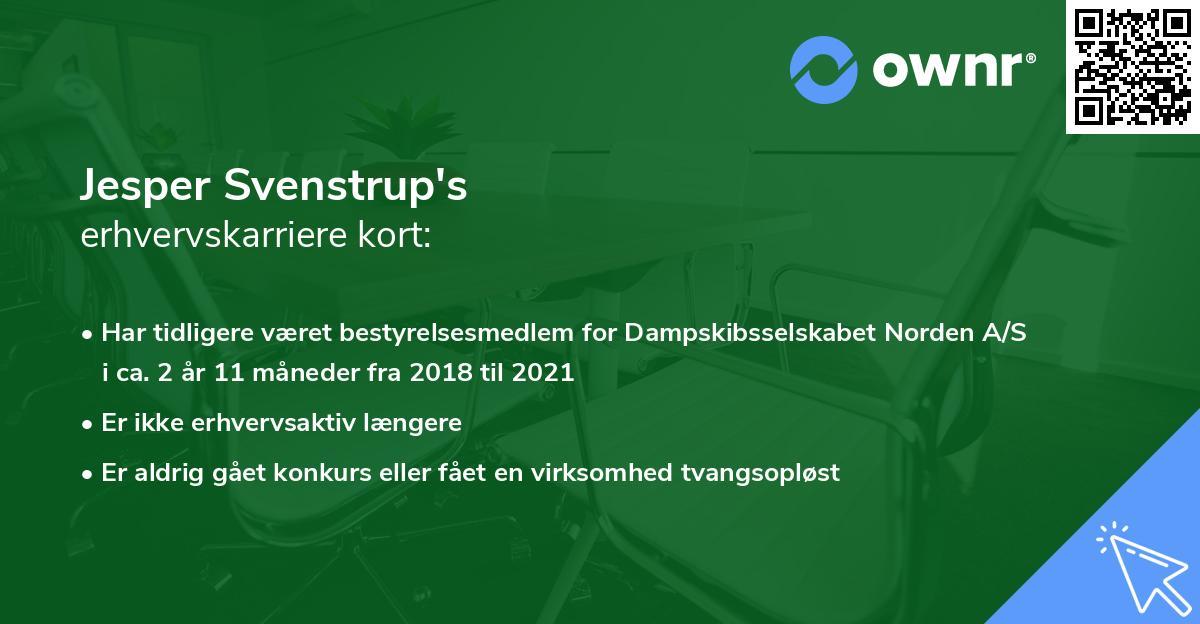 Jesper Svenstrup's erhvervskarriere kort