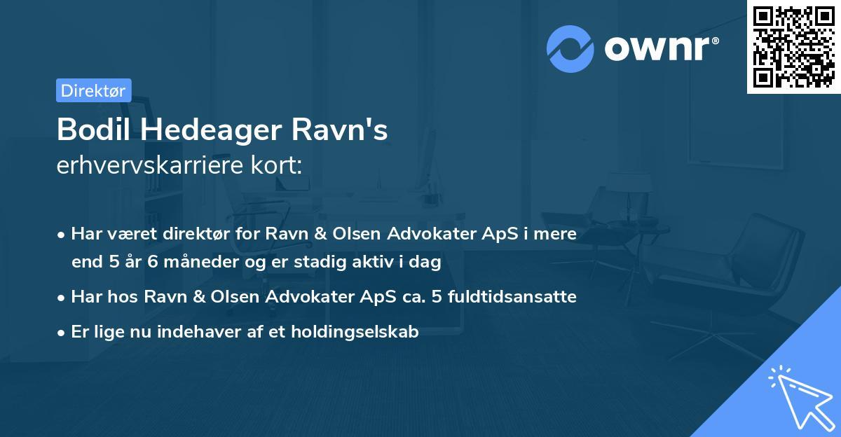 Bodil Hedeager Ravn's erhvervskarriere kort