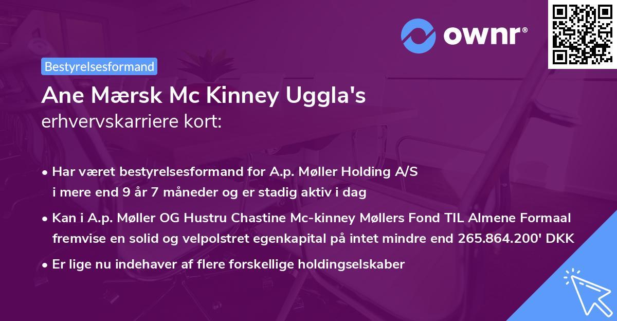 Ane Mærsk Mc Kinney Uggla's erhvervskarriere kort