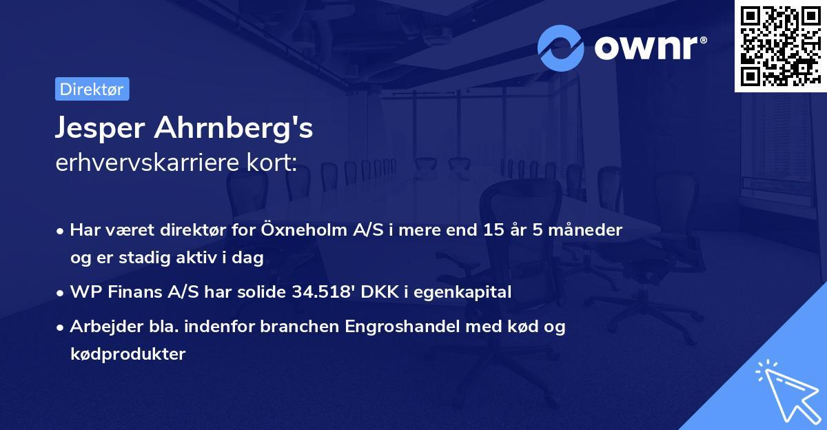 Jesper Ahrnberg's erhvervskarriere kort