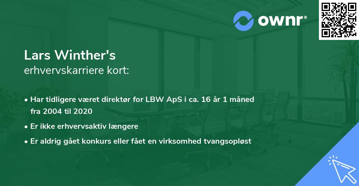Lars Winther's erhvervskarriere kort