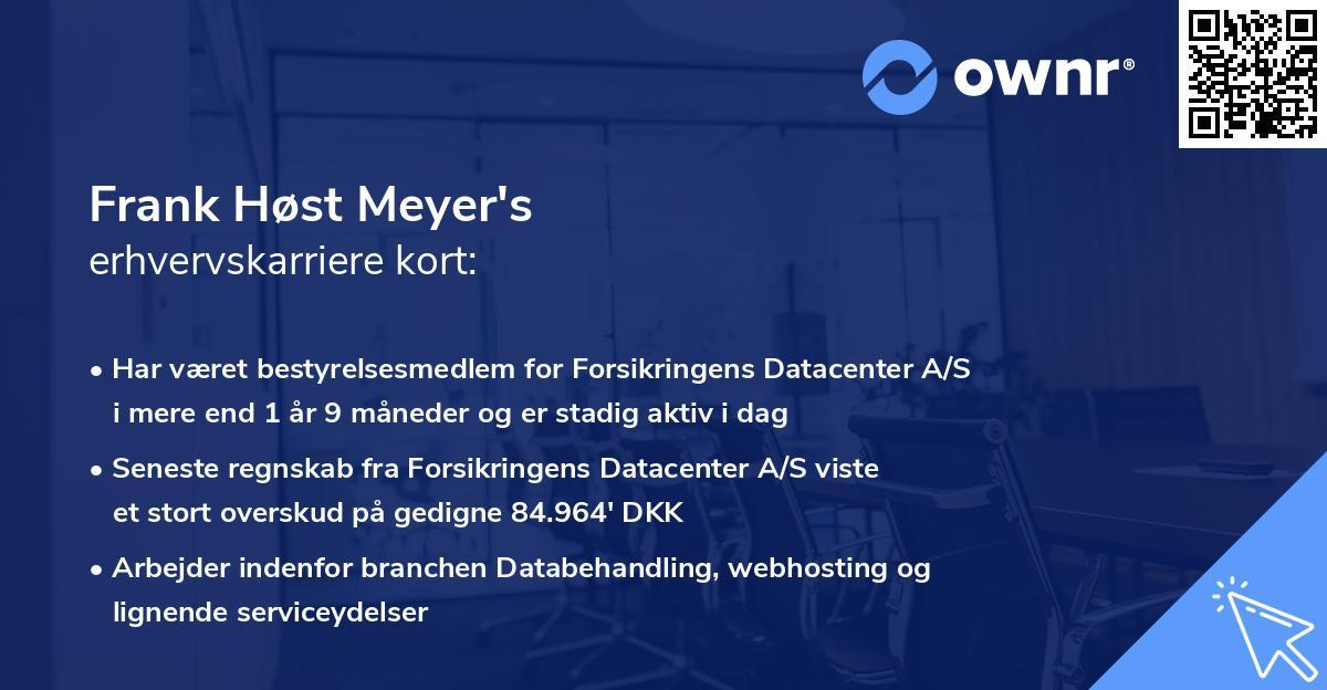 Frank Høst Meyer's erhvervskarriere kort