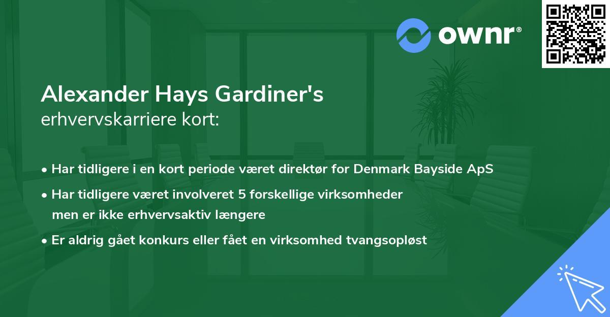 Alexander Hays Gardiner's erhvervskarriere kort