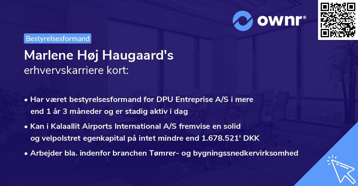 Marlene Høj Haugaard's erhvervskarriere kort