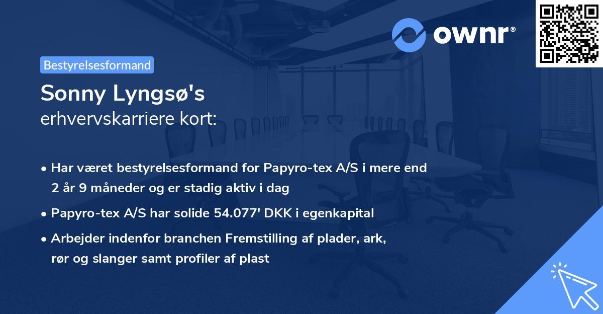 Sonny Lyngsø's erhvervskarriere kort