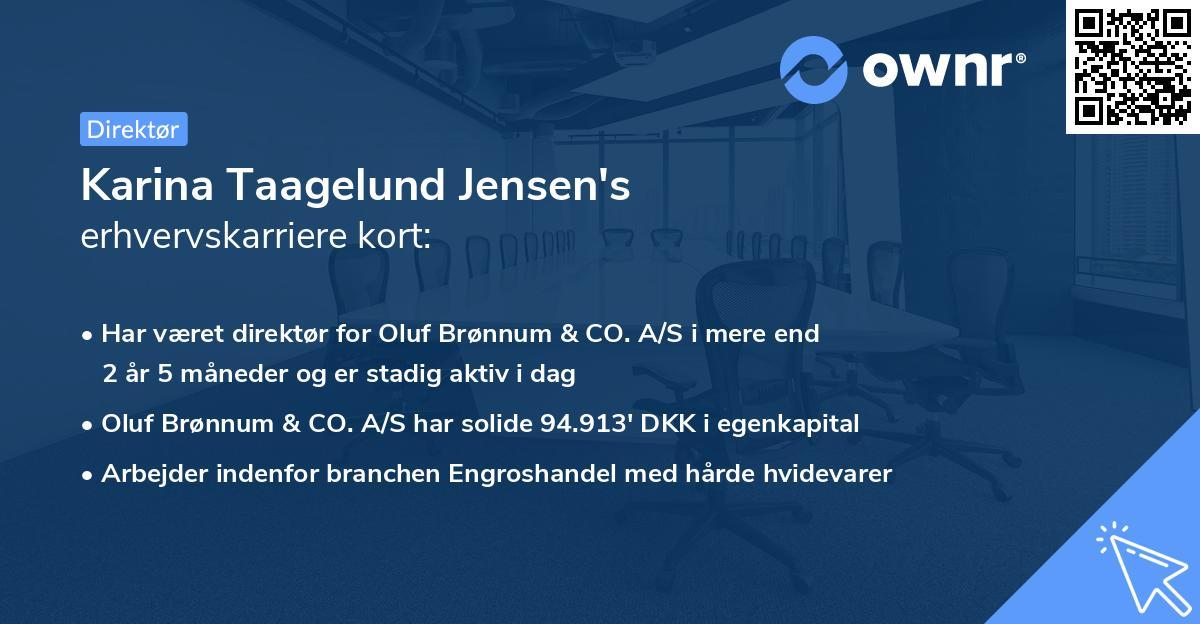Karina Taagelund Jensen's erhvervskarriere kort