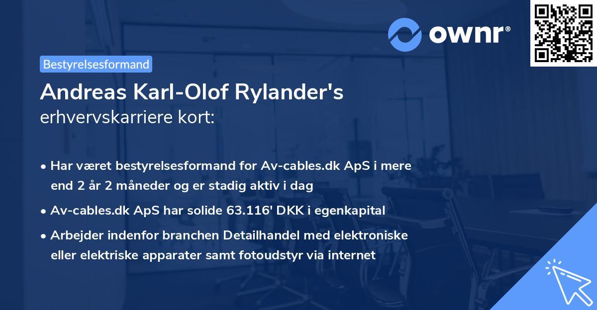 Andreas Karl-Olof Rylander's erhvervskarriere kort