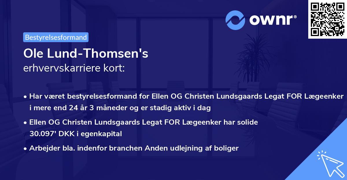 Ole Lund-Thomsen's erhvervskarriere kort