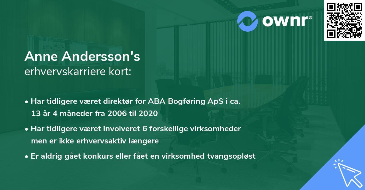 Anne Andersson's erhvervskarriere kort