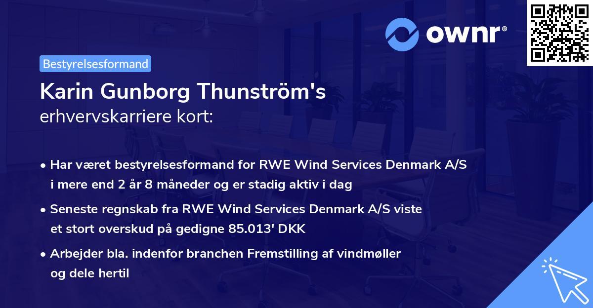 Karin Gunborg Thunström's erhvervskarriere kort