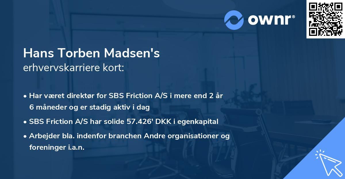 Hans Torben Madsen's erhvervskarriere kort