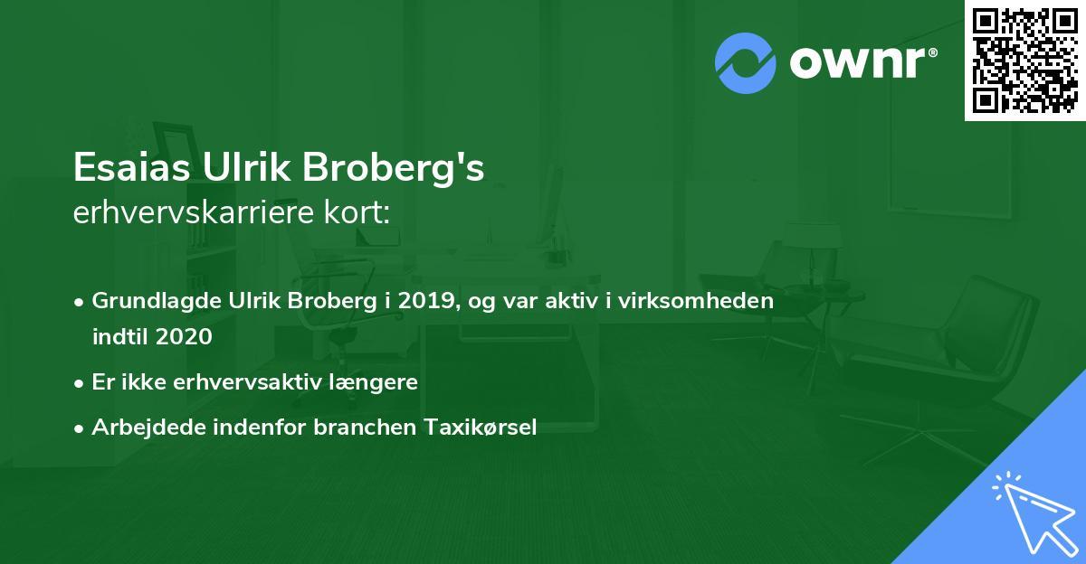 Esaias Ulrik Broberg's erhvervskarriere kort
