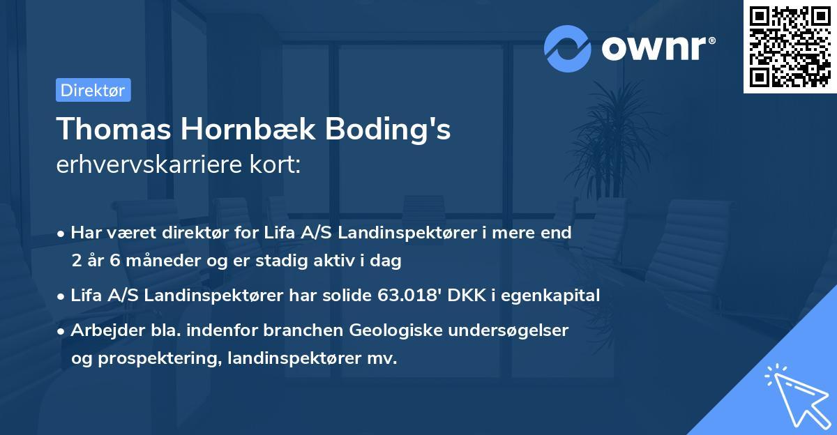 Thomas Hornbæk Boding's erhvervskarriere kort