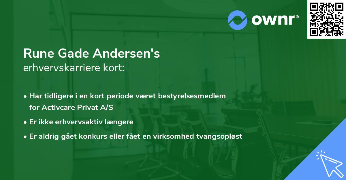 Rune Gade Andersen's erhvervskarriere kort