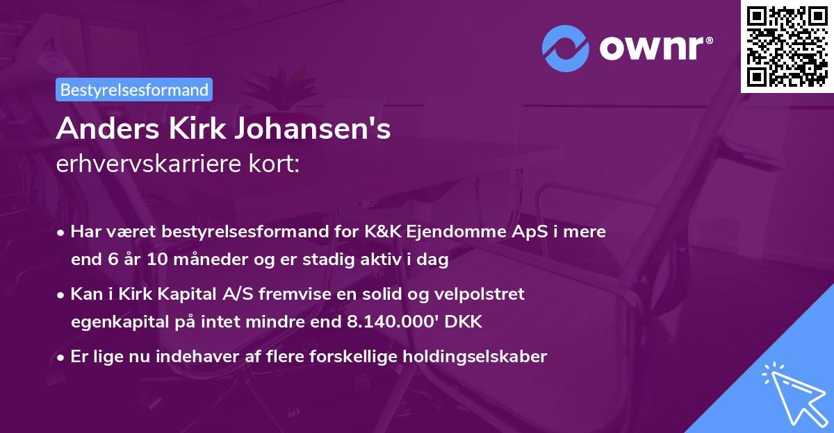 Anders Kirk Johansen's erhvervskarriere kort