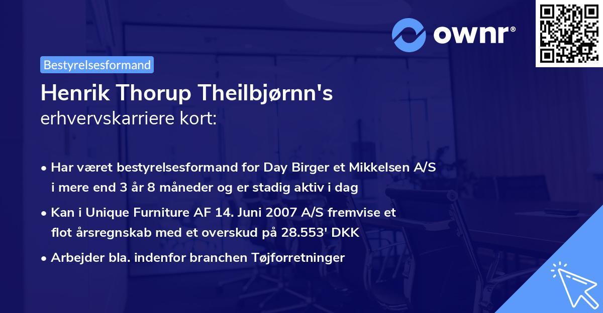 Henrik Thorup Theilbjørnn's erhvervskarriere kort