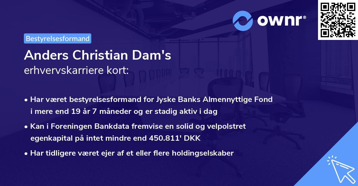 Anders Christian Dam's erhvervskarriere kort