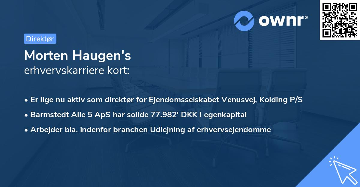 Morten Haugen's erhvervskarriere kort