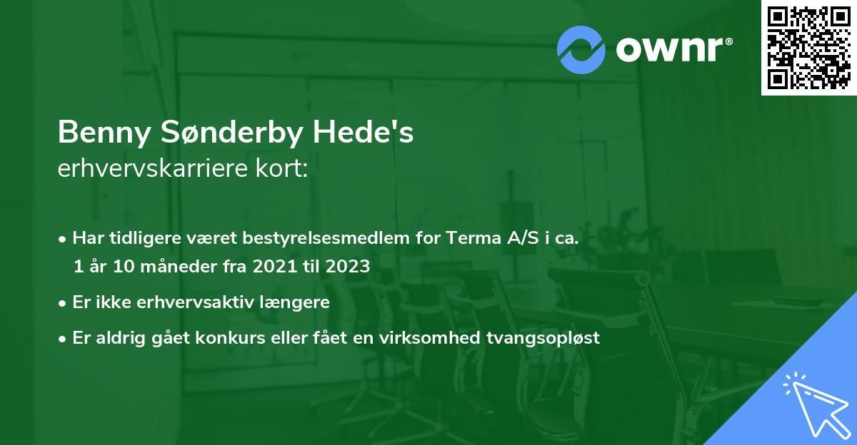 Benny Sønderby Hede's erhvervskarriere kort