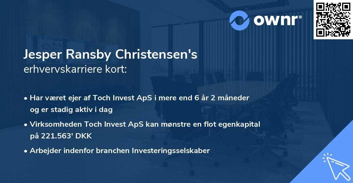 Jesper Ransby Christensen's erhvervskarriere kort