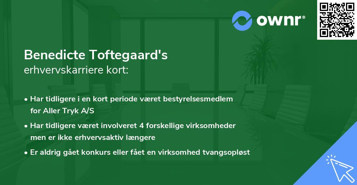 Benedicte Toftegaard's erhvervskarriere kort