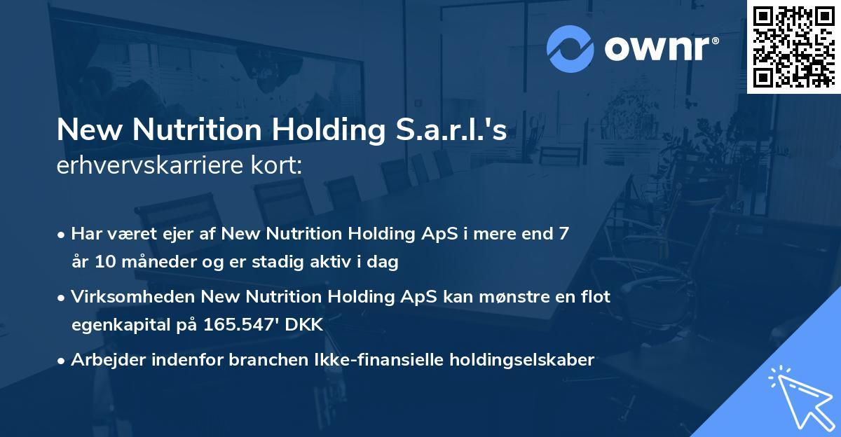 New Nutrition Holding S.a.r.l.'s erhvervskarriere kort