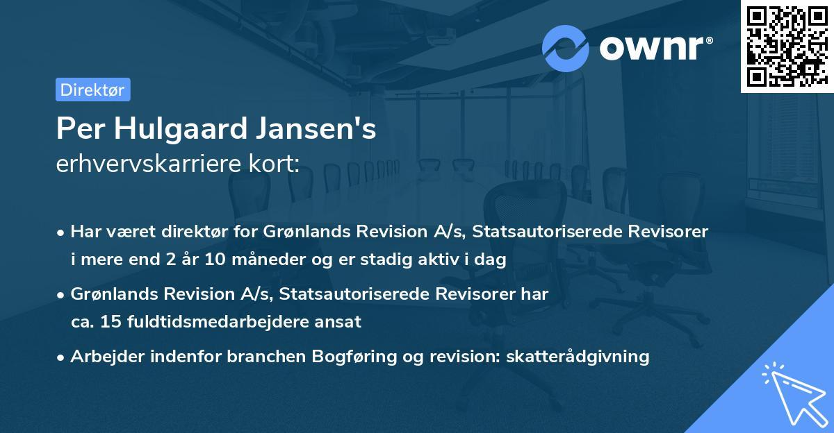 Per Hulgaard Jansen's erhvervskarriere kort