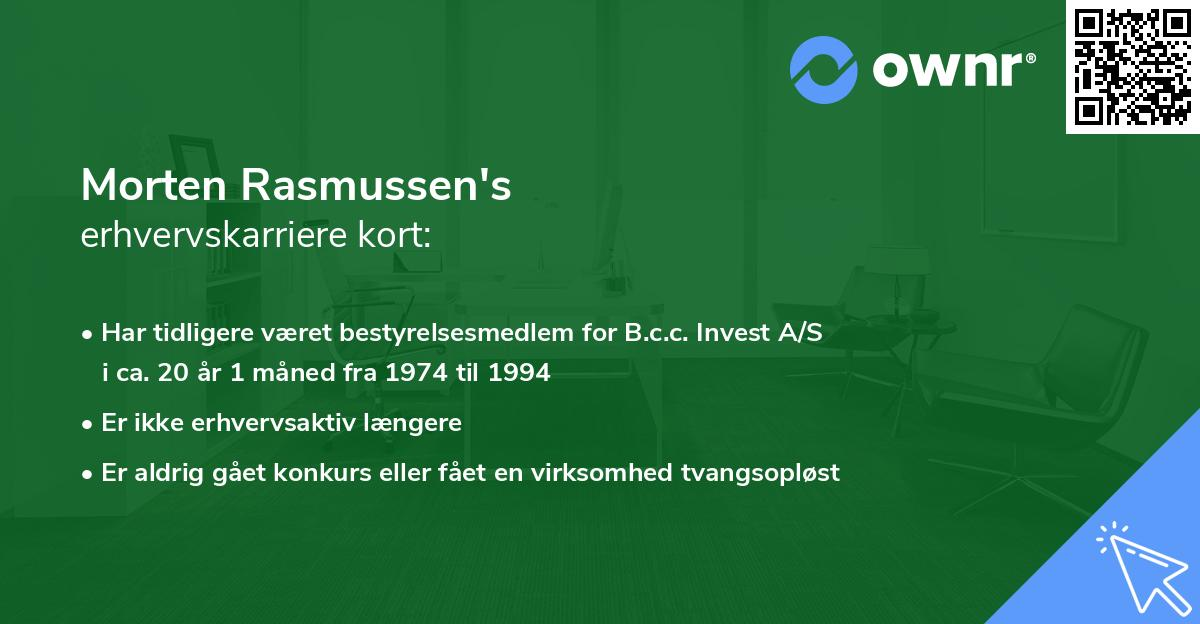 Morten Rasmussen's erhvervskarriere kort
