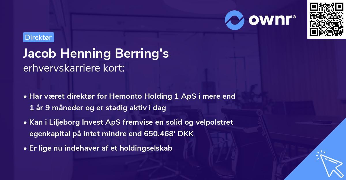 Jacob Henning Berring's erhvervskarriere kort