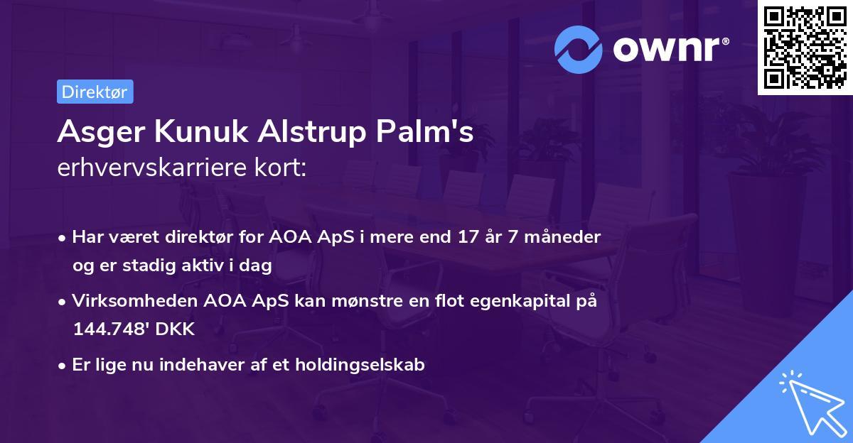 Asger Kunuk Alstrup Palm's erhvervskarriere kort