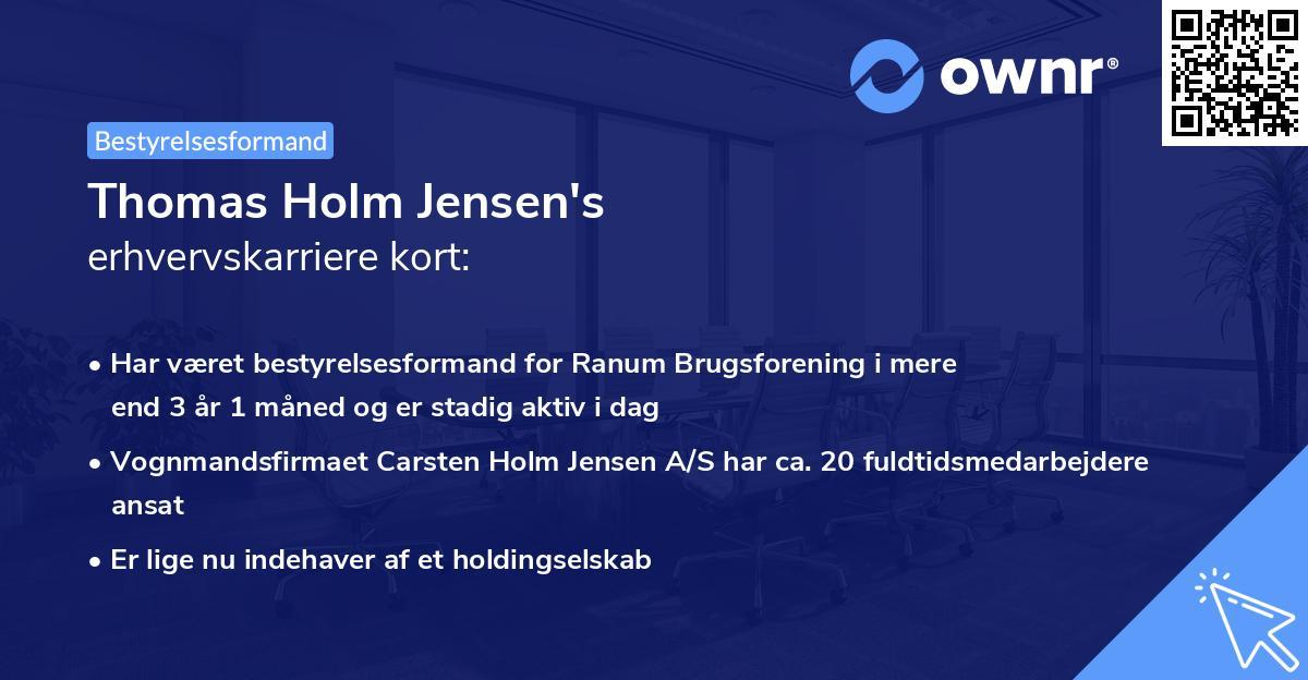 Thomas Holm Jensen's erhvervskarriere kort